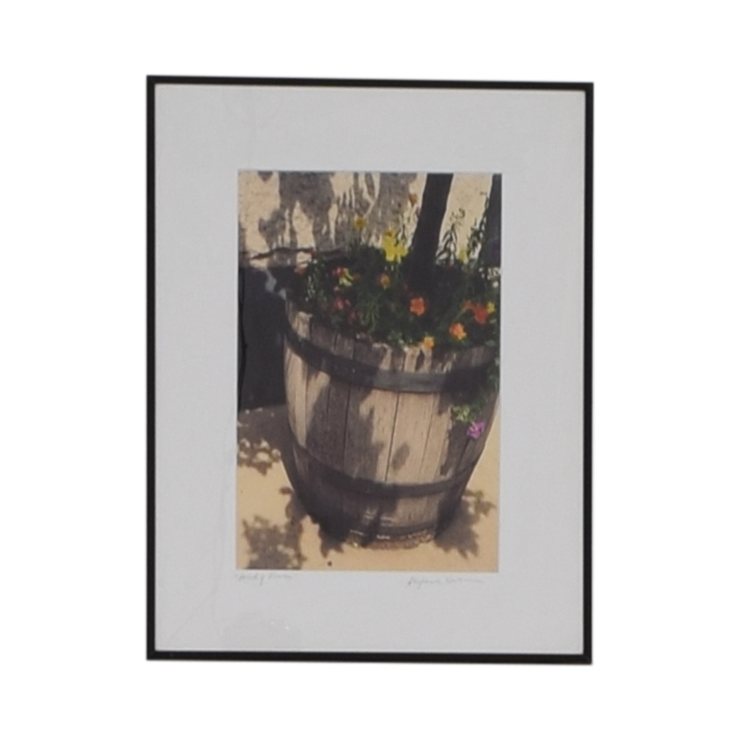 shop Stephanie Easton Signed Photograph of Floral Wood Barrel Stephanie Easton Wall Art