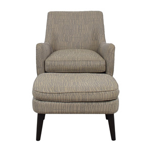 buy Room & Board Quinn Grey Chair and Ottoman Room & Board Chairs