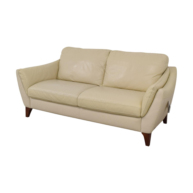 Fine 87 Off Natuzzi Natuzzi Greccio Beige Leather Two Cushion Sofa Sofas Lamtechconsult Wood Chair Design Ideas Lamtechconsultcom
