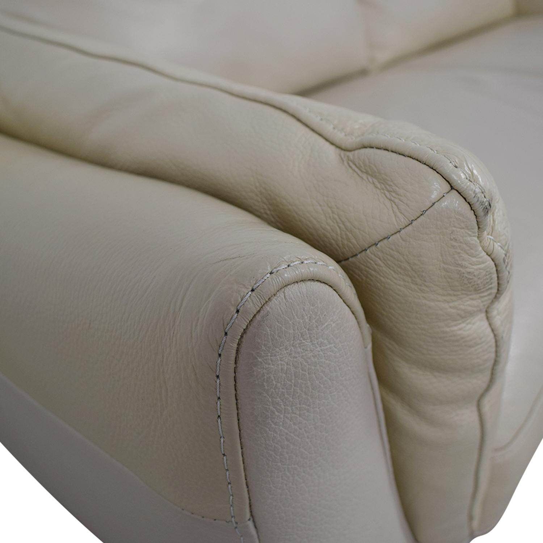 Amazing 87 Off Natuzzi Natuzzi Greccio Beige Leather Two Cushion Sofa Sofas Caraccident5 Cool Chair Designs And Ideas Caraccident5Info