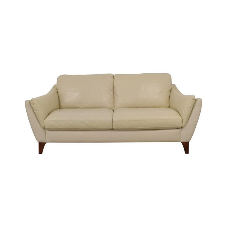shop Natuzzi Greccio Beige Leather Two-Cushion Sofa Natuzzi