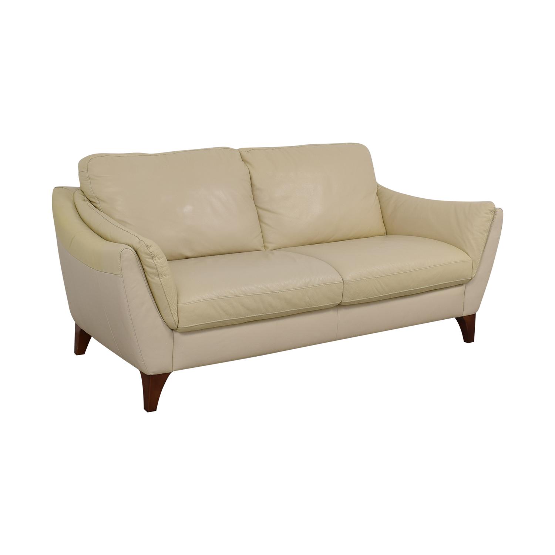 ... Natuzzi Natuzzi Greccio Beige Leather Two Cushion Sofa Dimensions ...