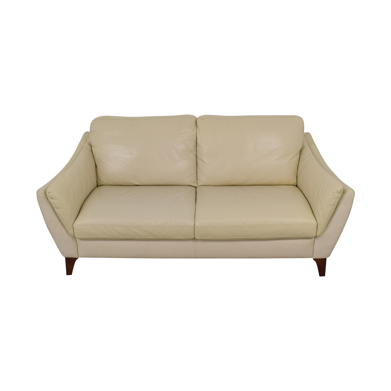 shop Natuzzi Greccio Beige Leather Two-Cushion Sofa Natuzzi Classic Sofas