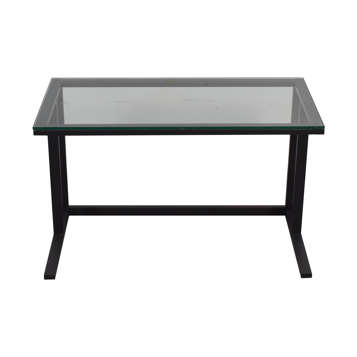 Glass and Black Base Desk for sale