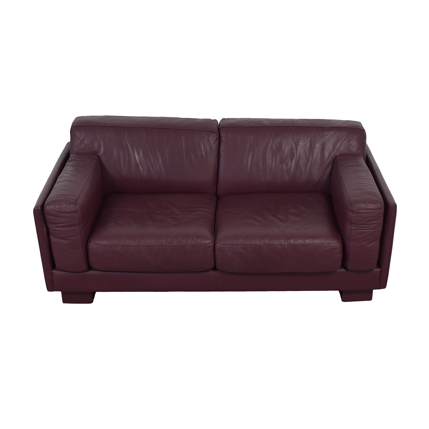 Leather Center Leather Center Burgundy Leather Two-Cushion Loveseat coupon