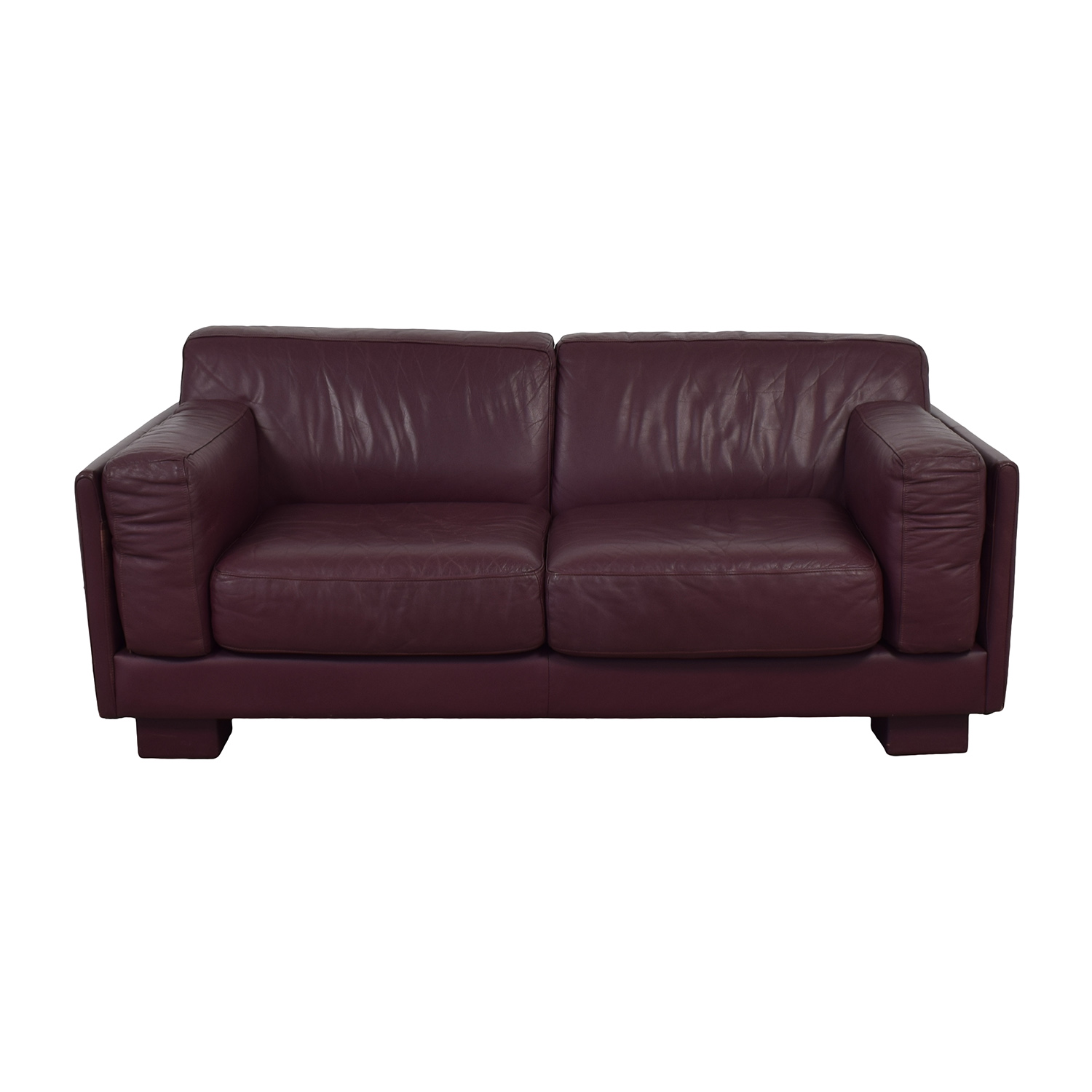 buy Leather Center Burgundy Leather Two-Cushion Loveseat Leather Center