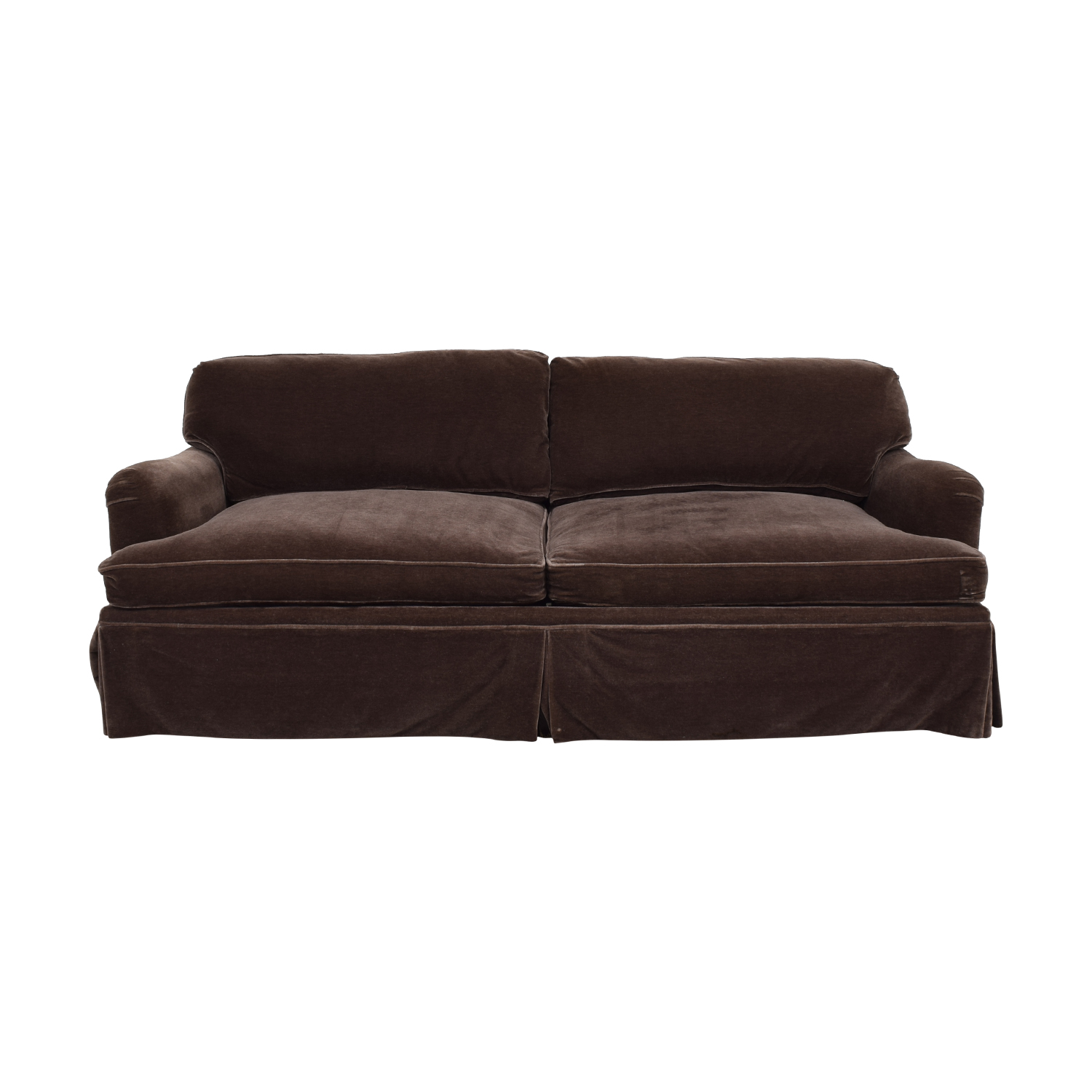 Brown Mohair Two-Cushion Couch