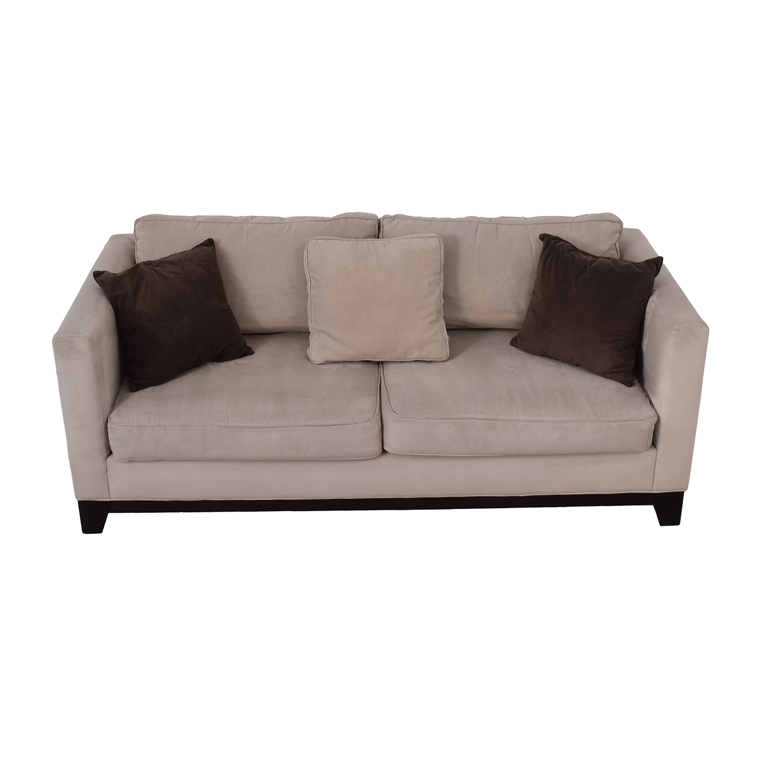 Bauhaus Bauhaus Beige Microsuede Couch with Toss Pillows on sale