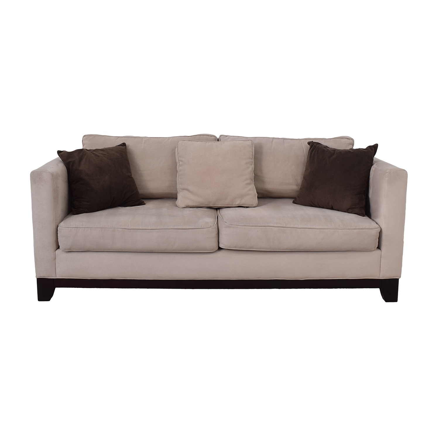 Bauhaus Beige Microsuede Couch With Toss Pillows