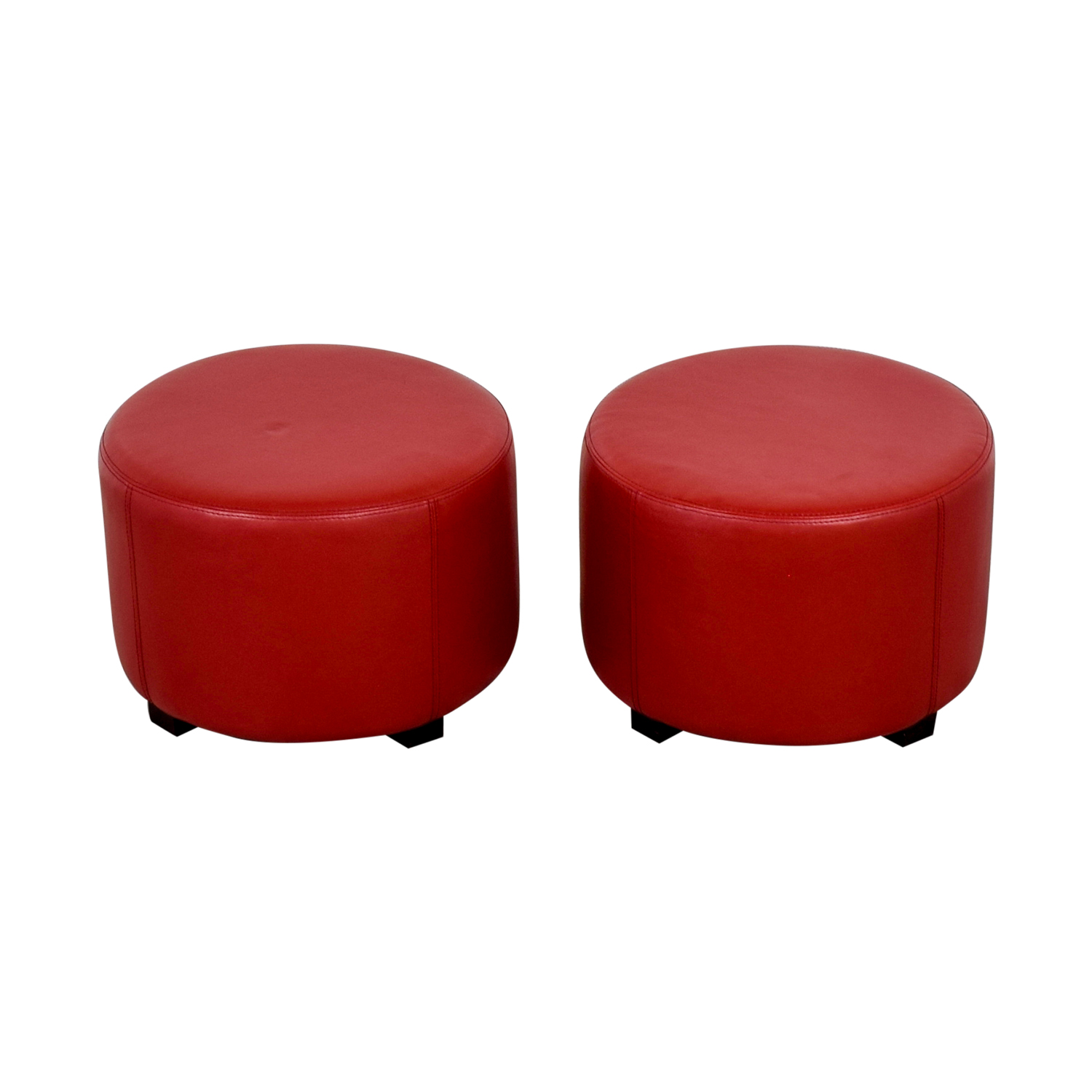 Round Red Leather Ottomans nj