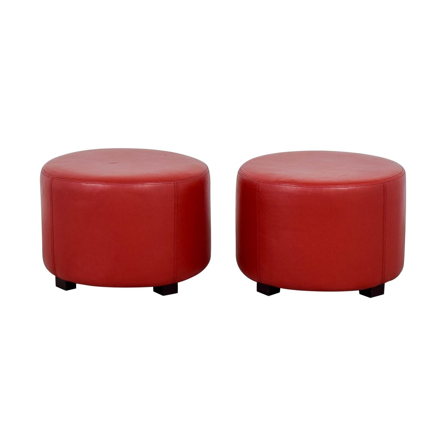 Round Red Leather Ottomans for sale