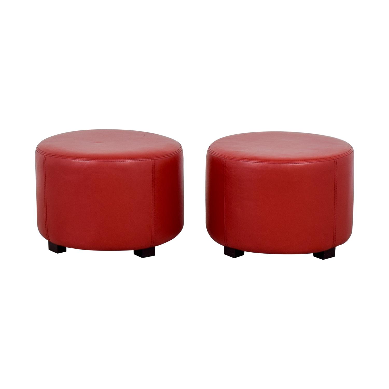 Stupendous 90 Off Round Red Leather Ottomans Chairs Uwap Interior Chair Design Uwaporg