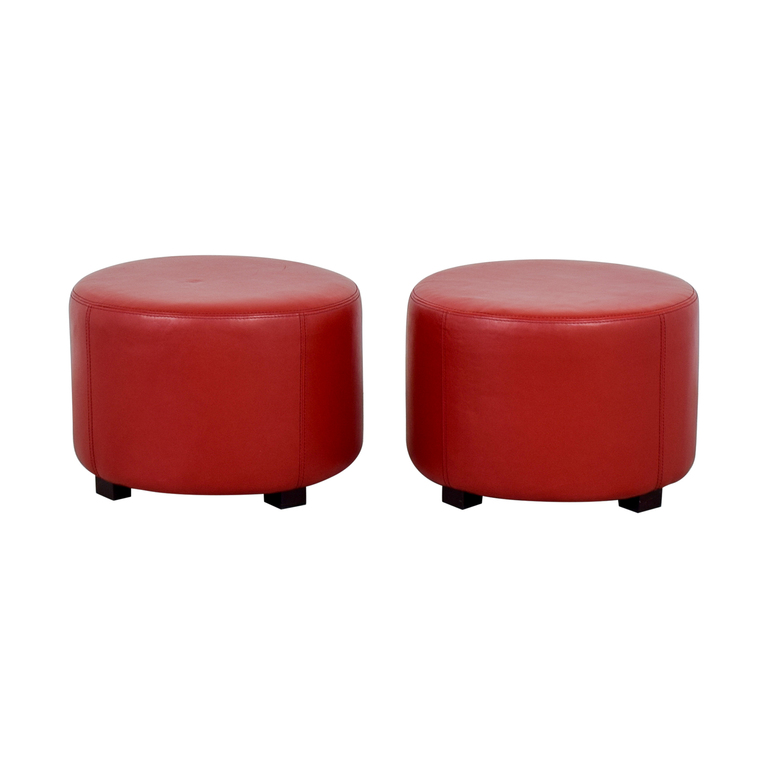 Round Red Leather Ottomans