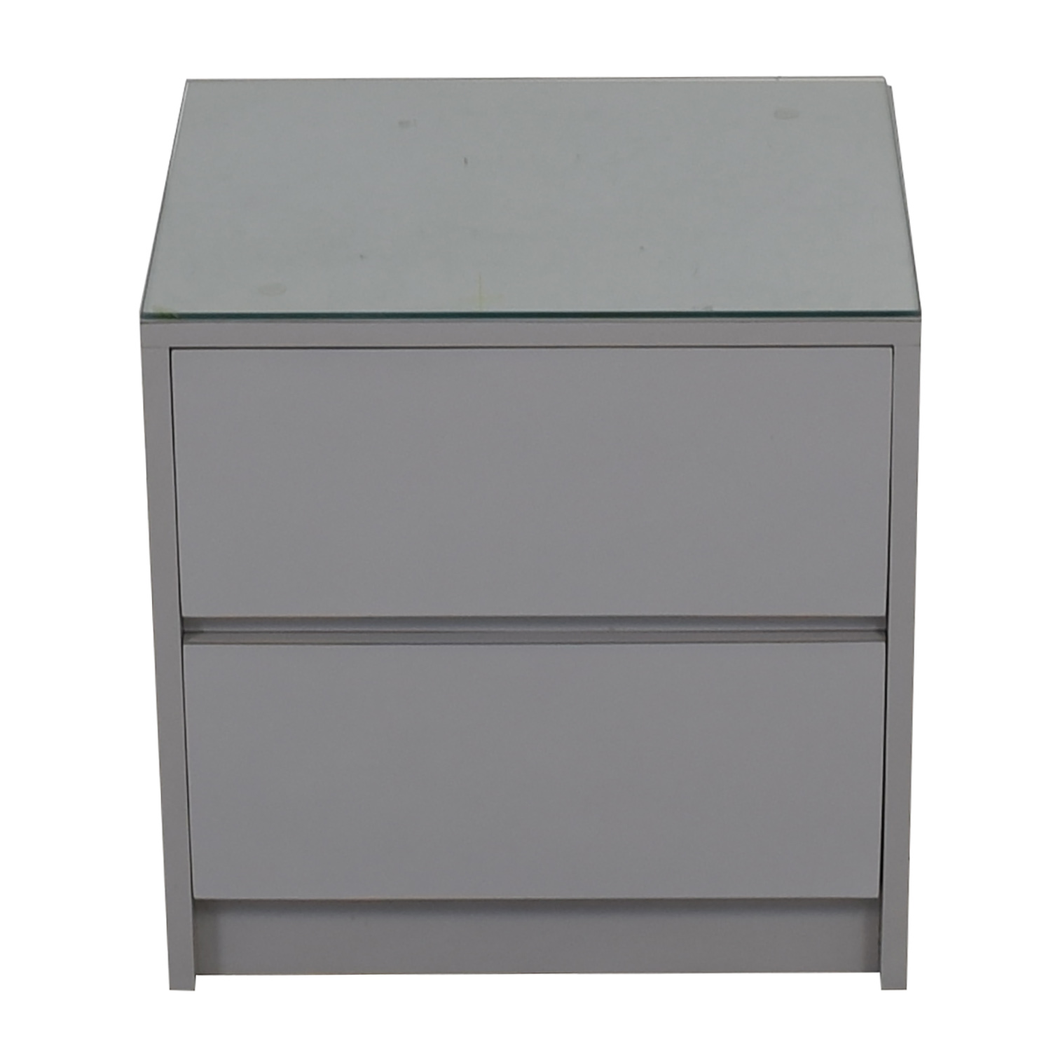 Gray Formica Two-Drawer Glass Top Nightstand price