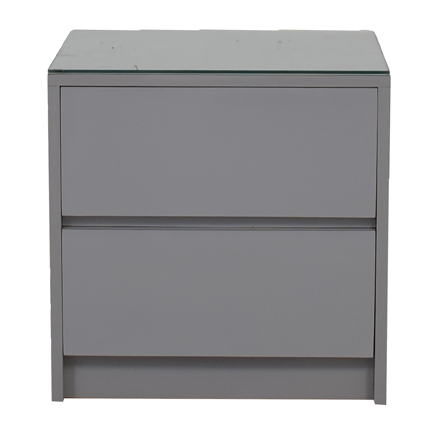 Gray Formica Two-Drawer Glass Top Nightstand