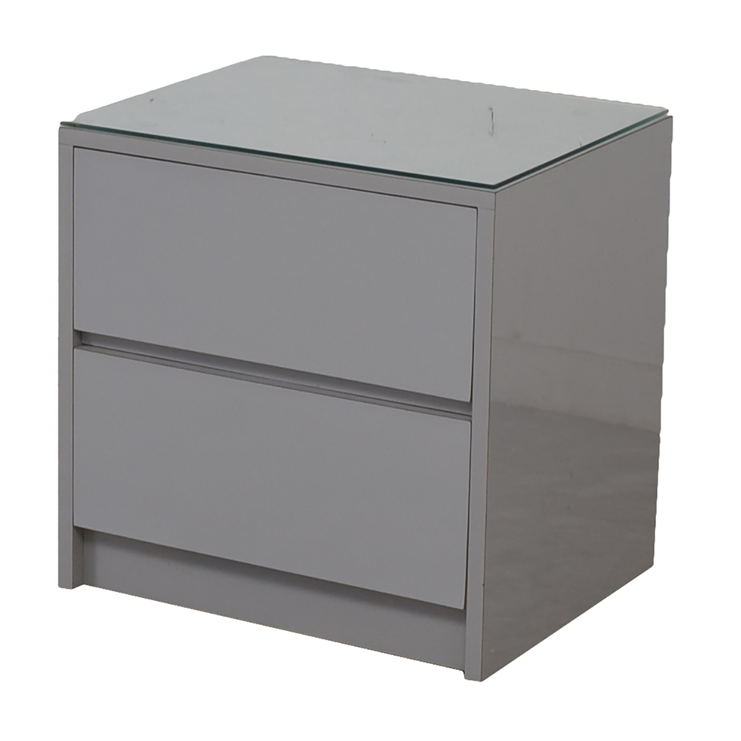 Gray formica two drawer glass top nightstand for sale