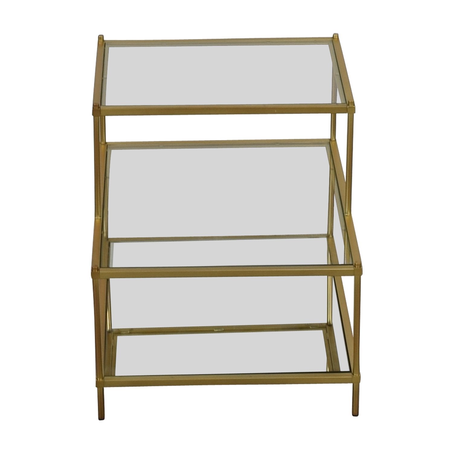 buy West Elm Terrace Antique Brass and Glass Nightstand West Elm