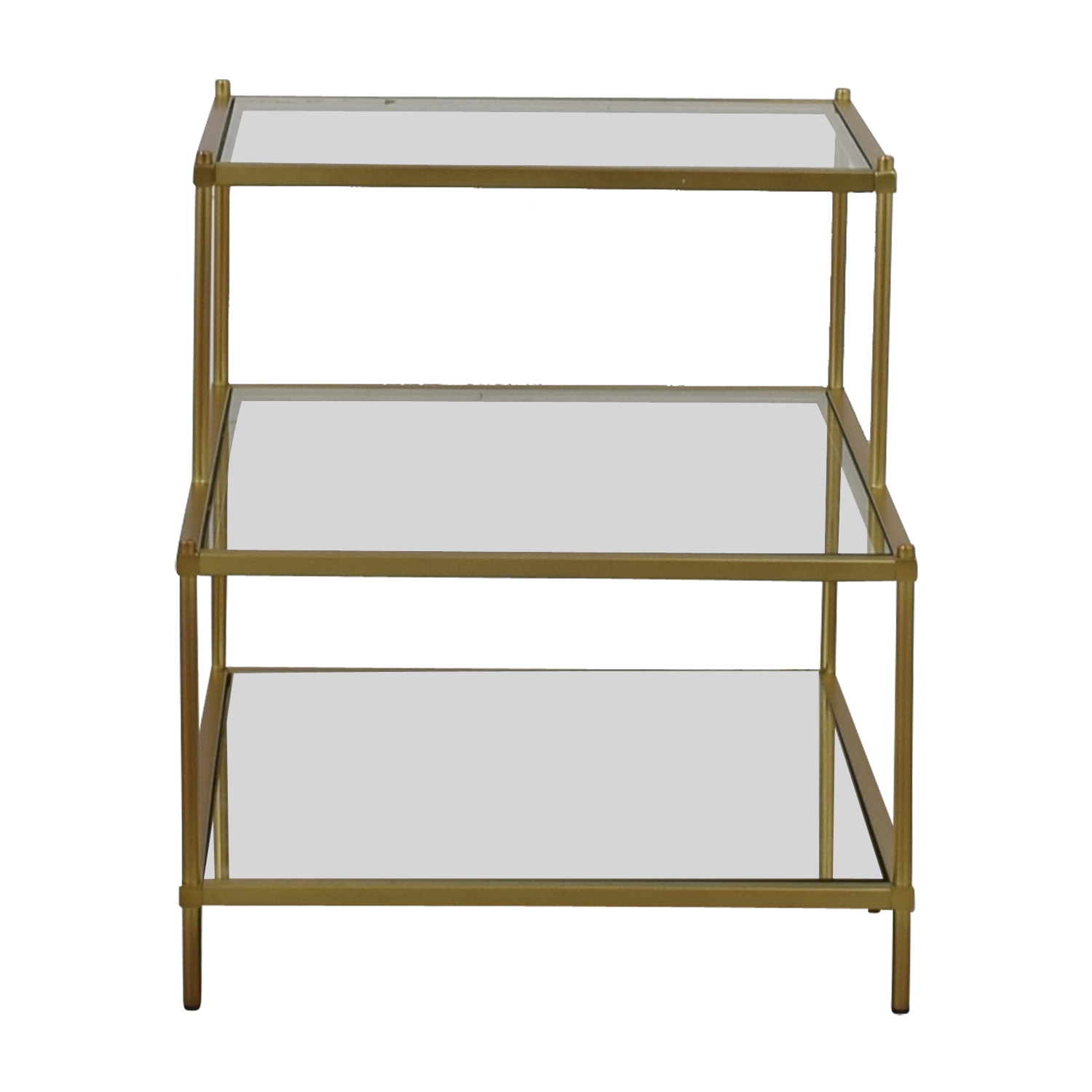 West Elm West Elm Terrace Antique Brass and Glass Nightstand nyc