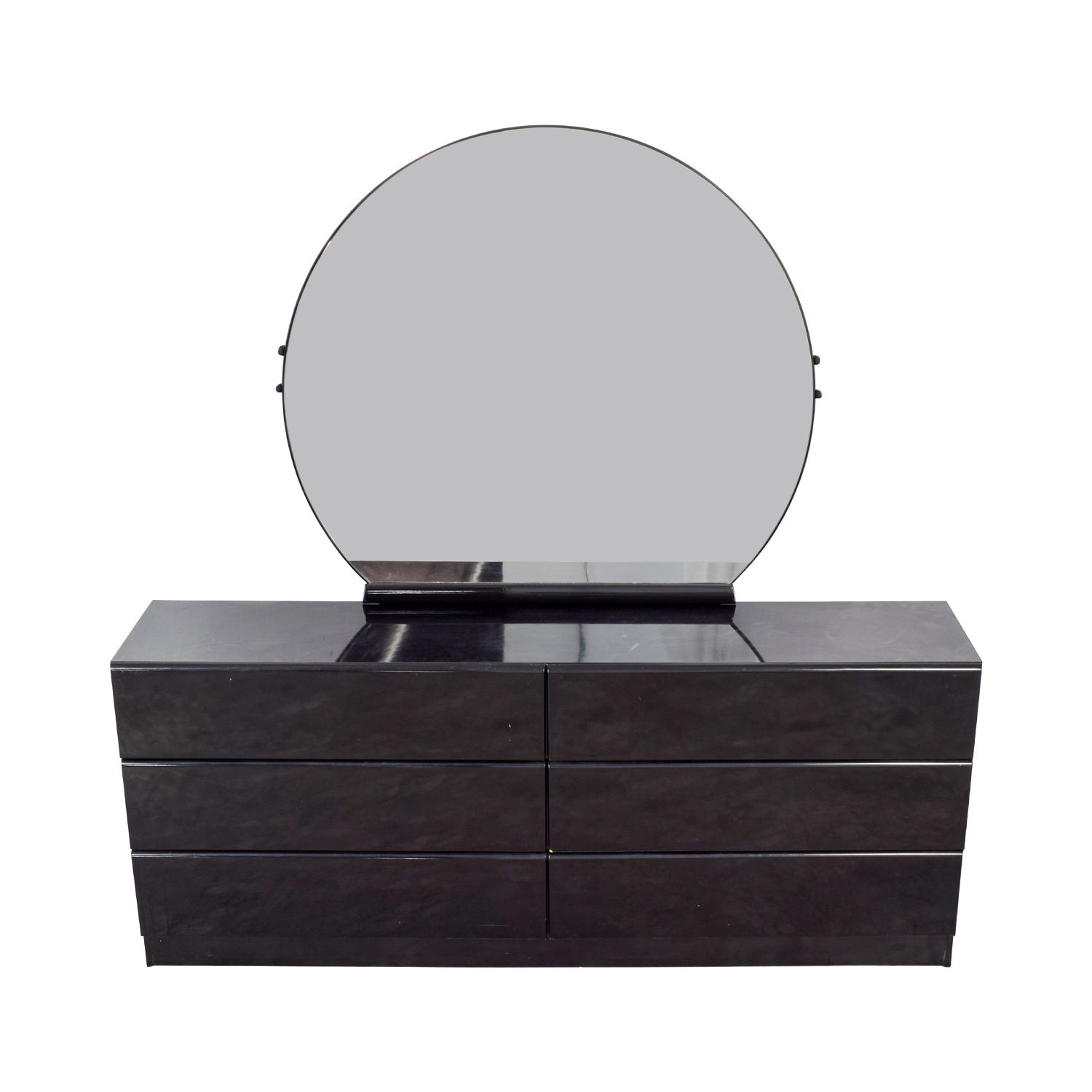 Black Six-Drawer Dresser with Mirror nyc