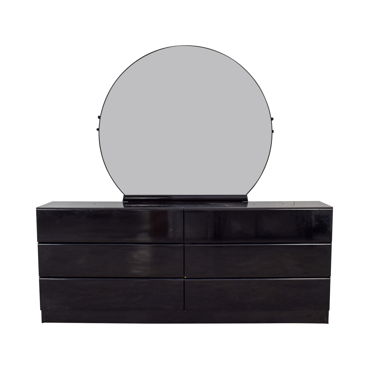 Black Six-Drawer Dresser with Mirror price