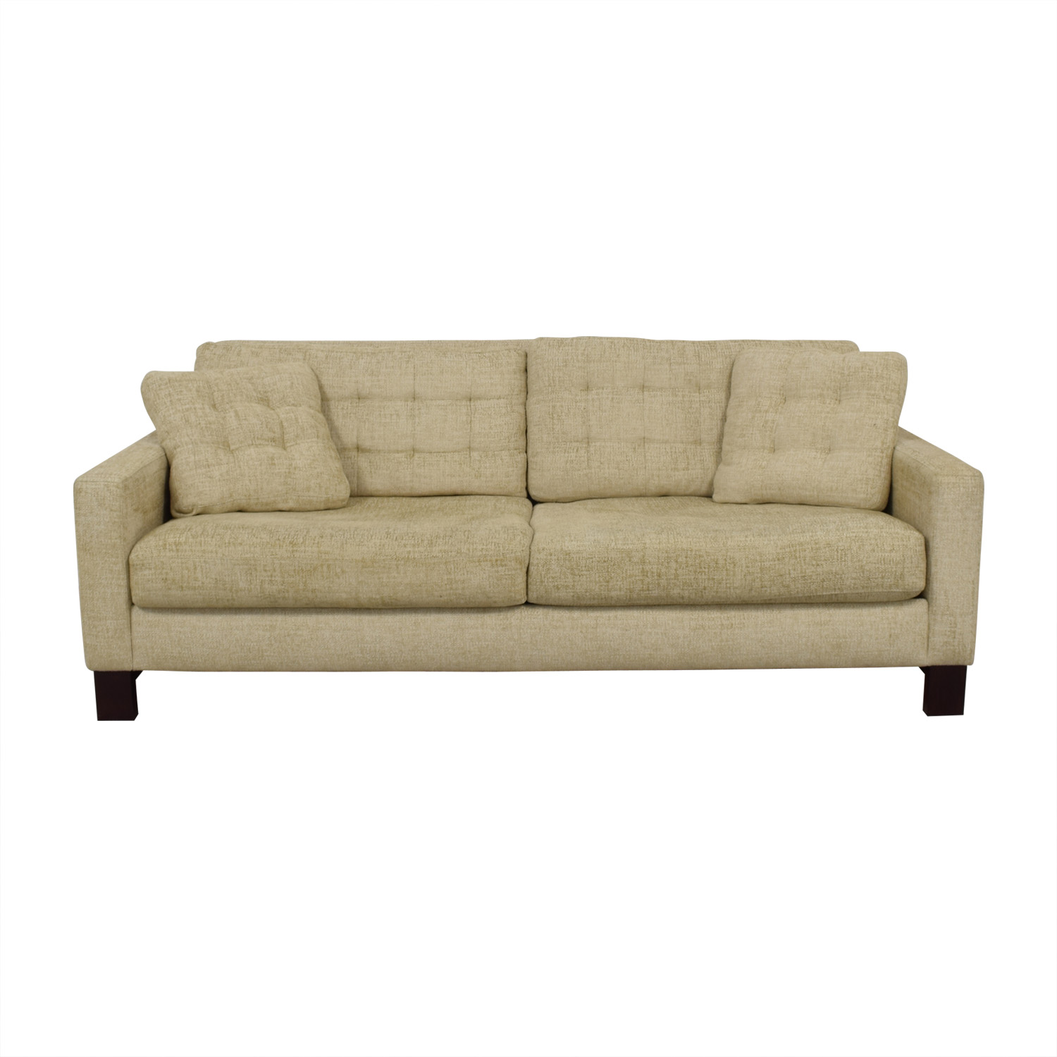 shop American Leather Beige Tweed Two-Cushion Sofa American Leather Sofas