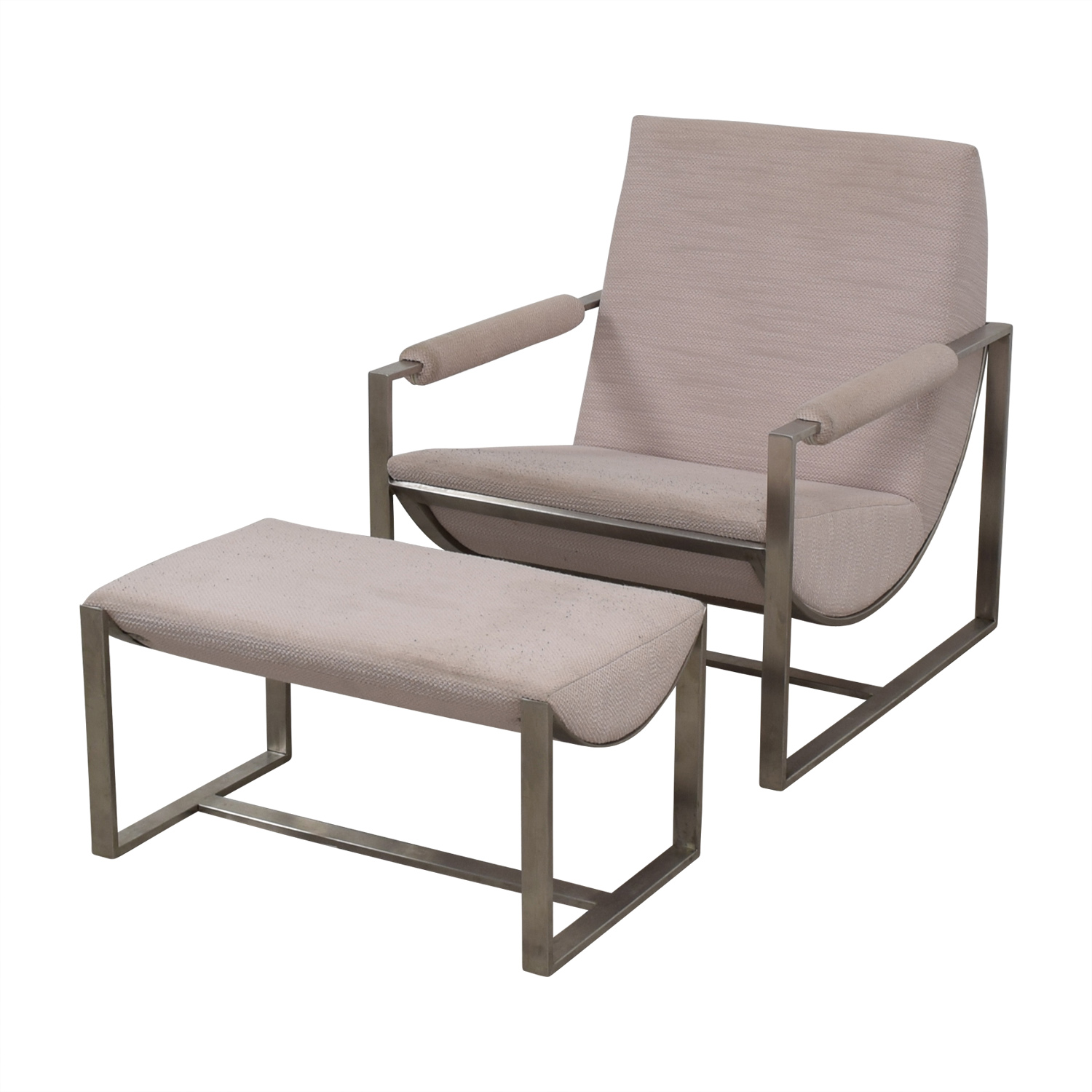 West Elm West Elm Cream Chair and Foot Stool nyc