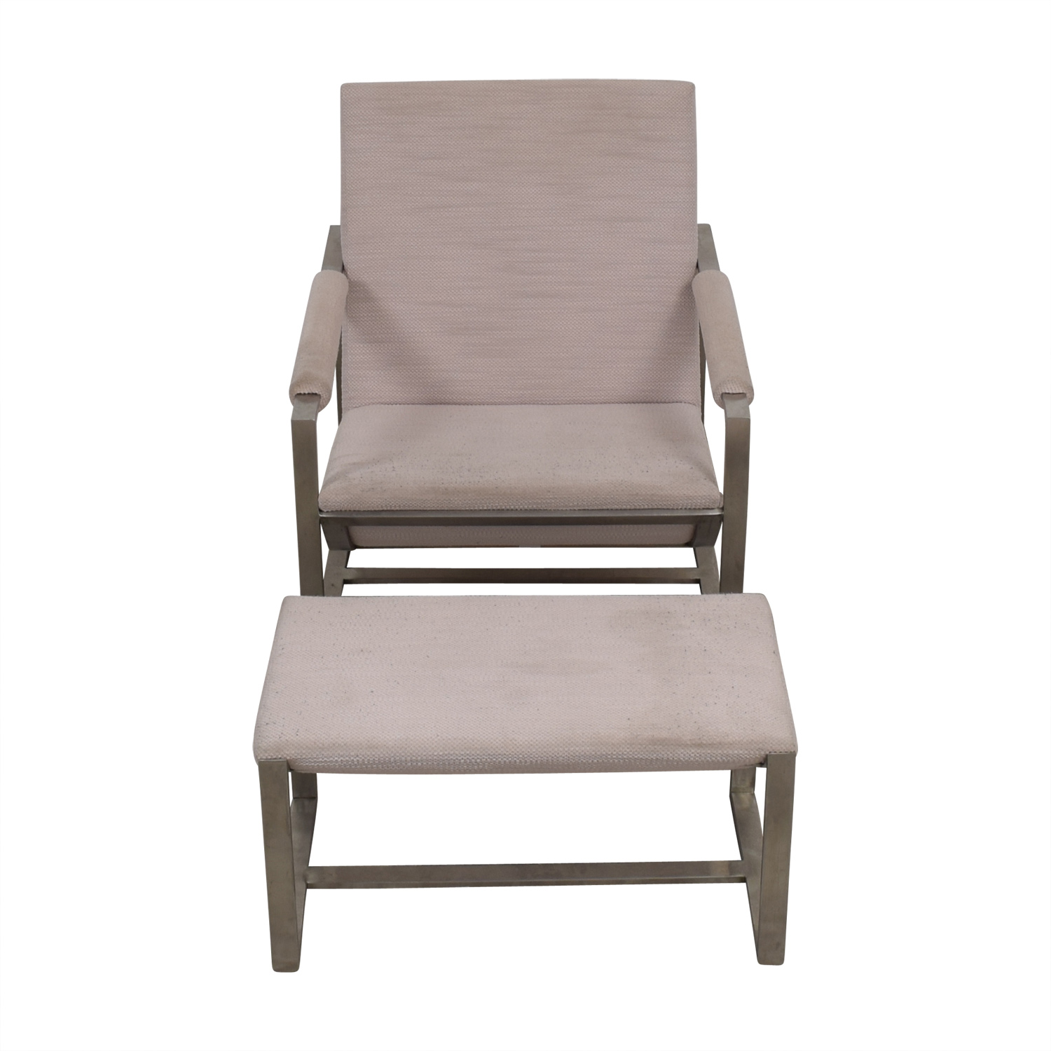 shop West Elm Cream Chair and Foot Stool West Elm