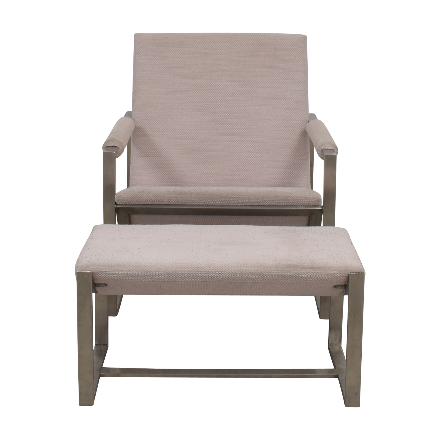 shop West Elm West Elm Cream Chair and Foot Stool online