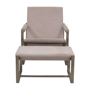 West Elm West Elm Cream Chair and Foot Stool discount
