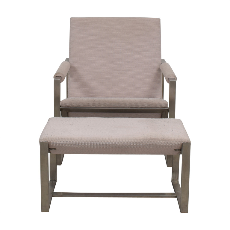 buy West Elm Cream Chair and Foot Stool West Elm