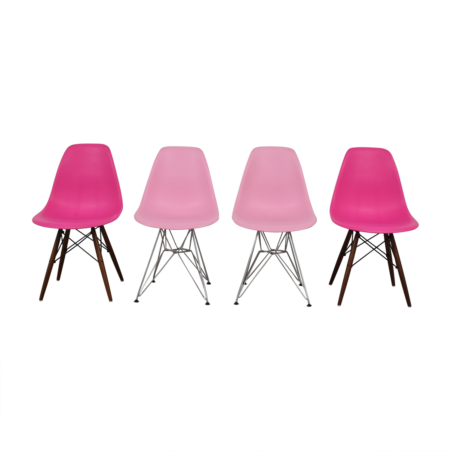 Mid Century Style Pink Plastic Chairs discount