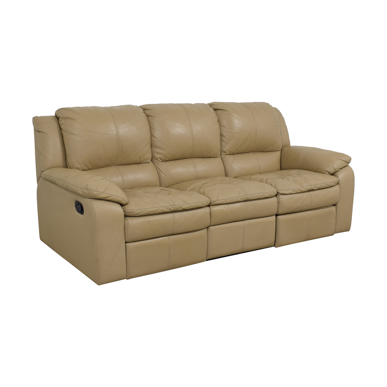 77 Off Jennifer Furniture Jennifer Furniture Beige Leather Three Seater Reclining Sofa Sofas