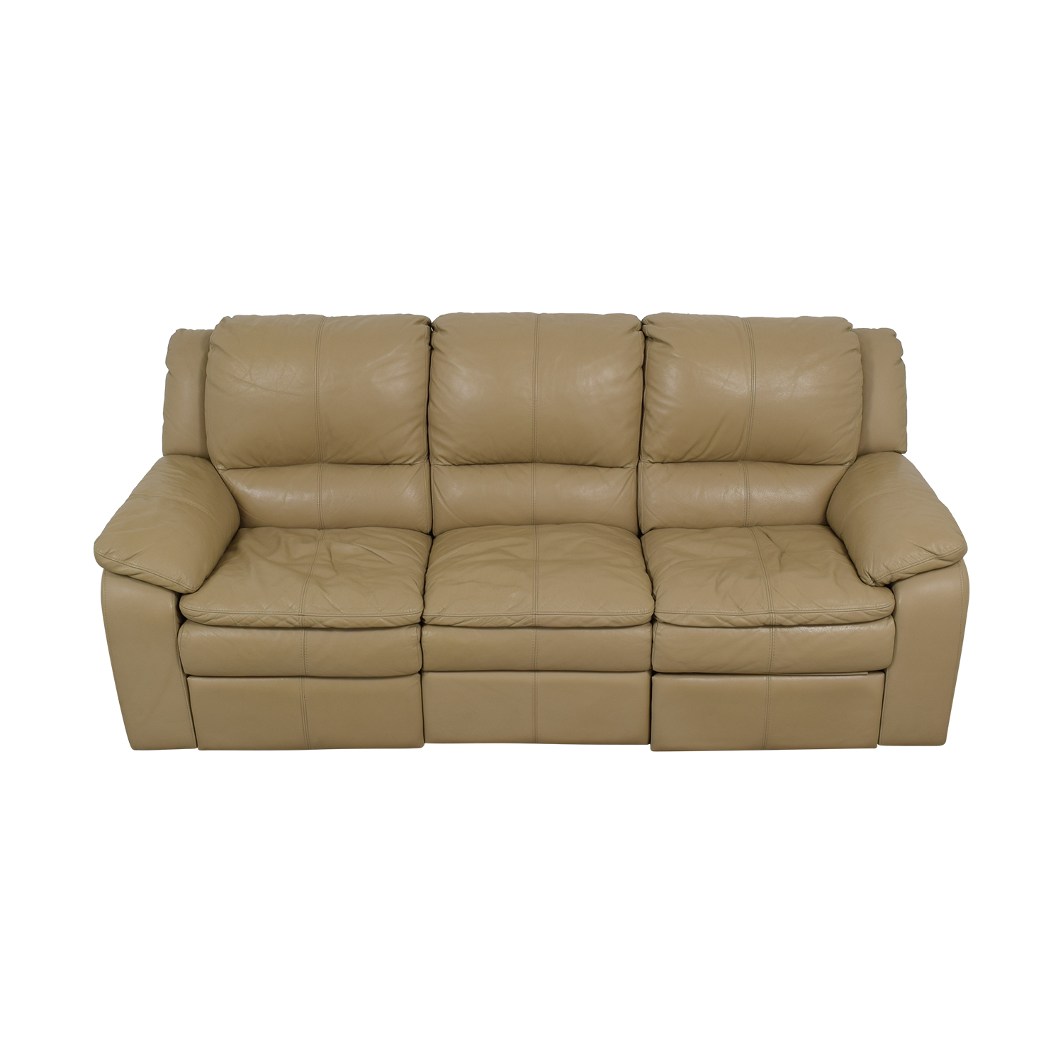 buy Jennifer Furniture Beige Leather Three-Seater Reclining Sofa Jennifer Furniture