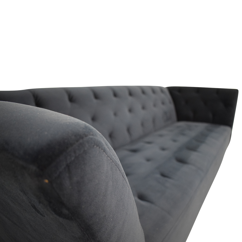 Macy's Navy Velvet Tufted Single Cushion Couch sale