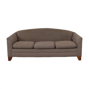 Ethan Allen Brown and White Plaid Three-Cushion Sofa Ethan Allen