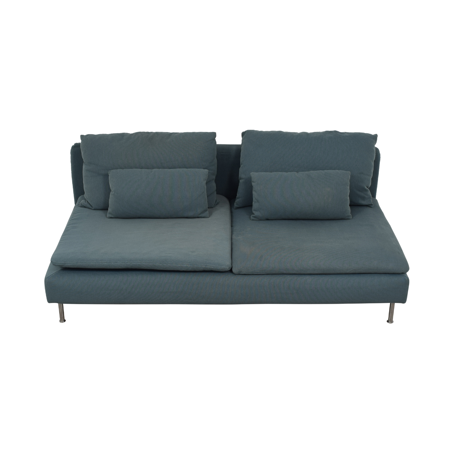 IKEA Grey Green Two-Cushion Armless Couch / Sofas