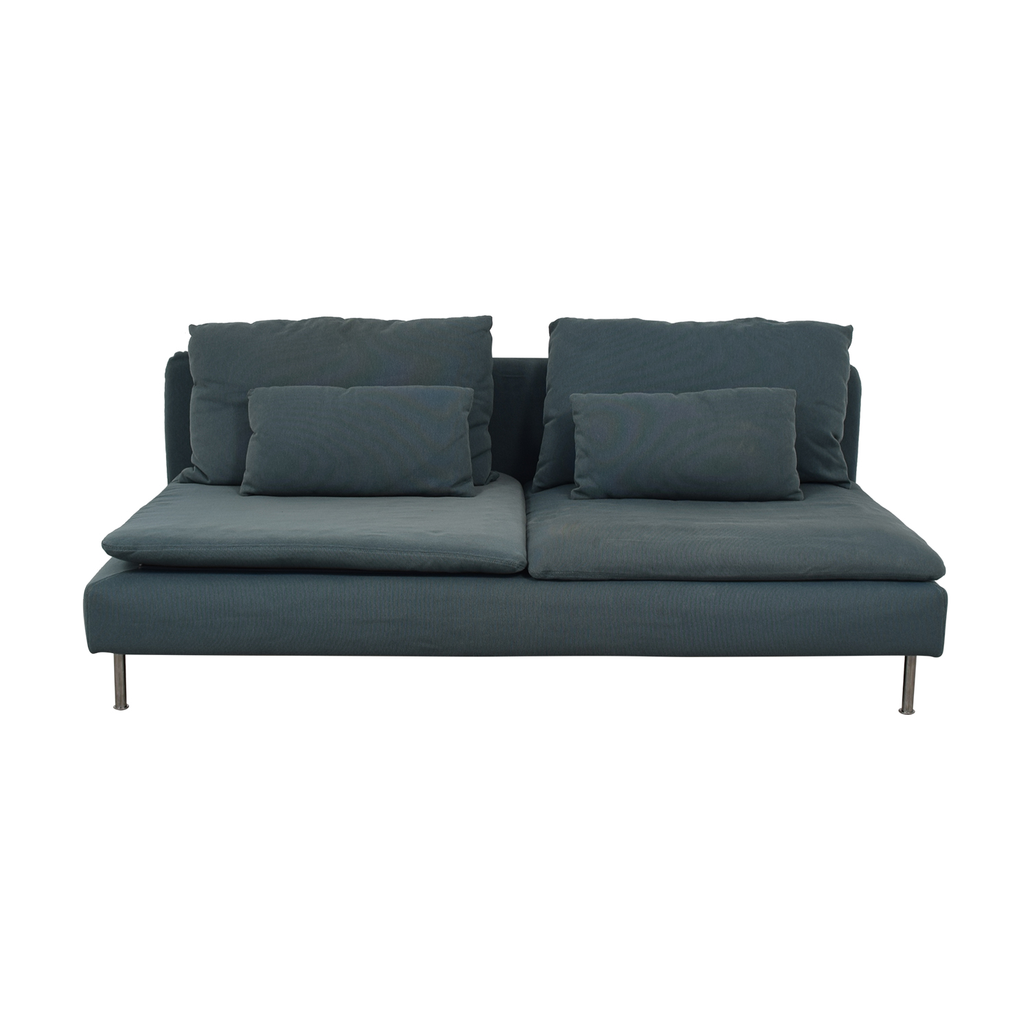 IKEA Grey Green Two-Cushion Armless Couch / Sectionals