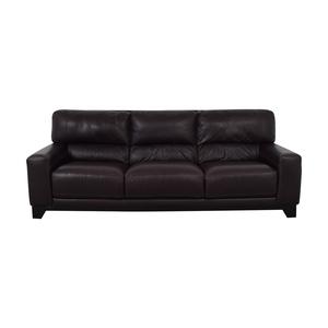 Luke Brown Leather Three-Cushion Sofa sale
