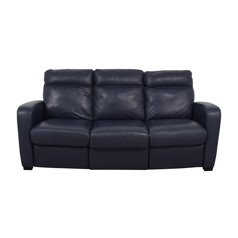 buy Natuzzi Rodrigo Navy Leather Power Reclining Sofa Natuzzi