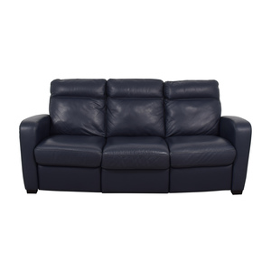 Natuzzi Natuzzi Rodrigo Navy Leather Power Reclining Sofa dimensions