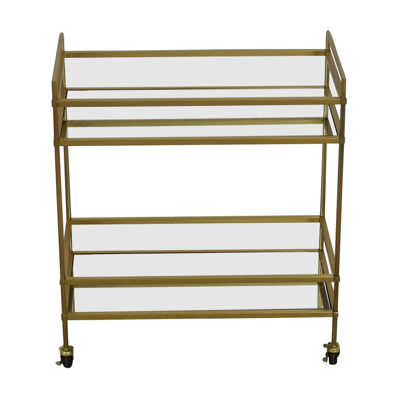 West Elm Gold Mirrored Bar Cart West Elm
