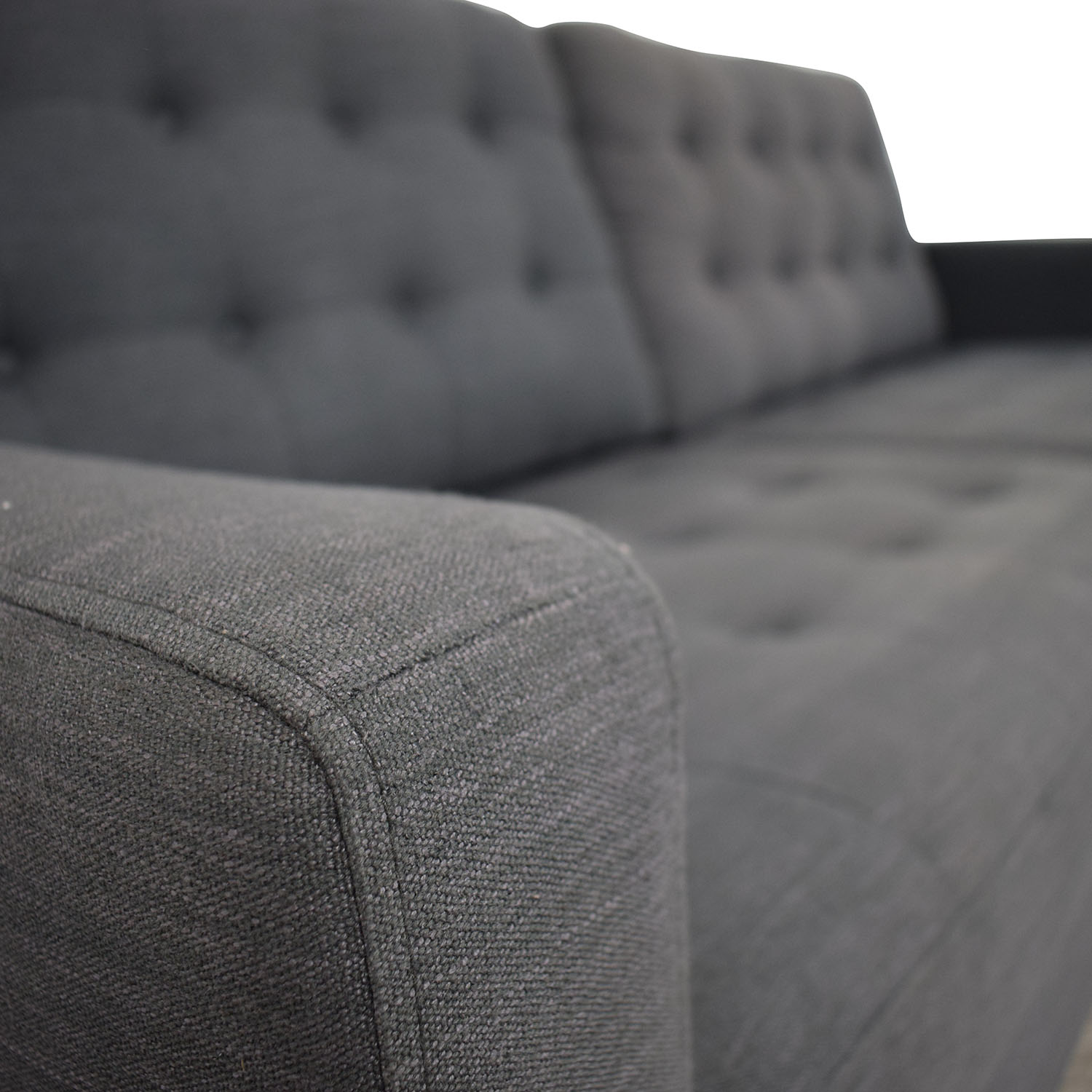 Pier One Pier One Gray Tufted Two-Cushion Sofa graphite gray