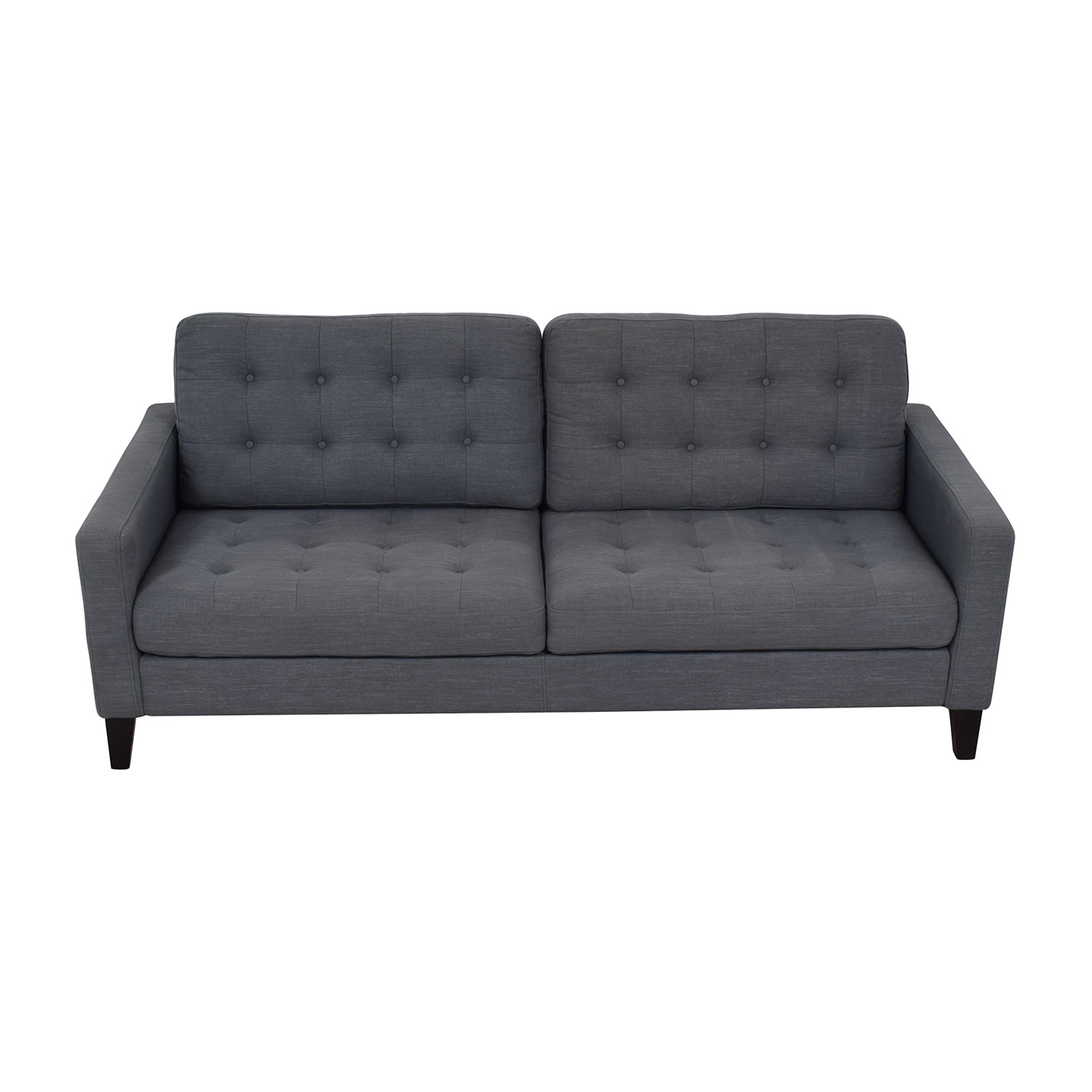buy Pier One Pier One Gray Tufted Two-Cushion Sofa online