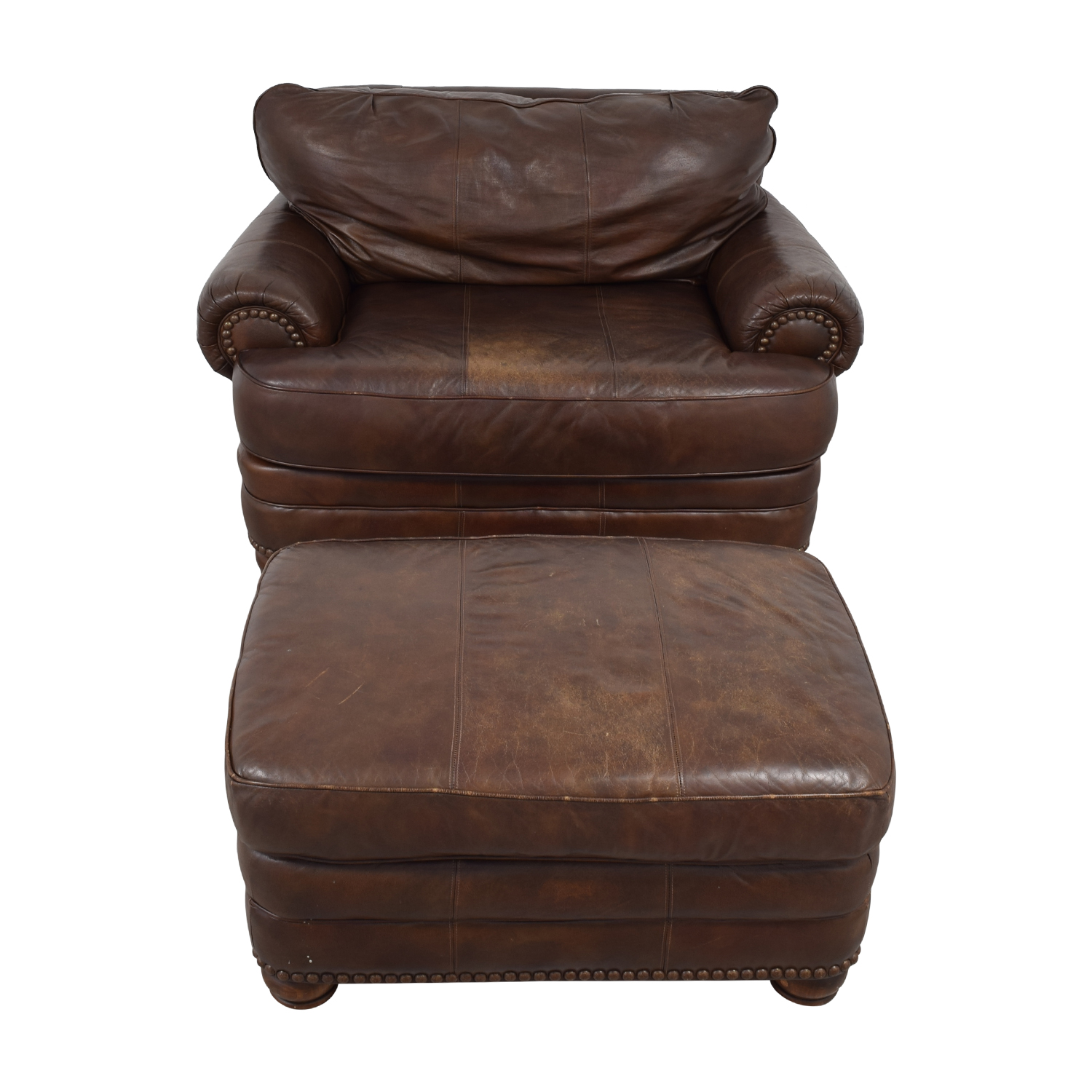 Lane Furniture Lane Furniture Brown Leather Chair and Ottoman