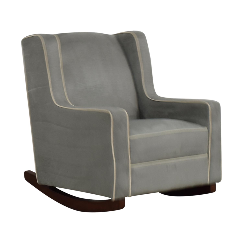 Viv + Rae Sanders Viv + Rae Sanders Grey with Beige Piping Compact Plush Rocking Chair discount
