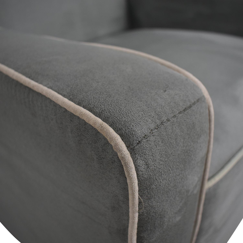 shop Viv + Rae Sanders Viv + Rae Sanders Grey with Beige Piping Compact Plush Rocking Chair online