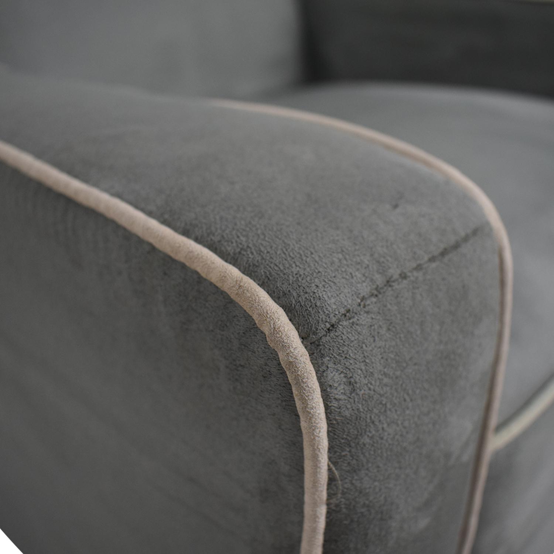 Viv + Rae Sanders Viv + Rae Sanders Grey with Beige Piping Compact Plush Rocking Chair nyc