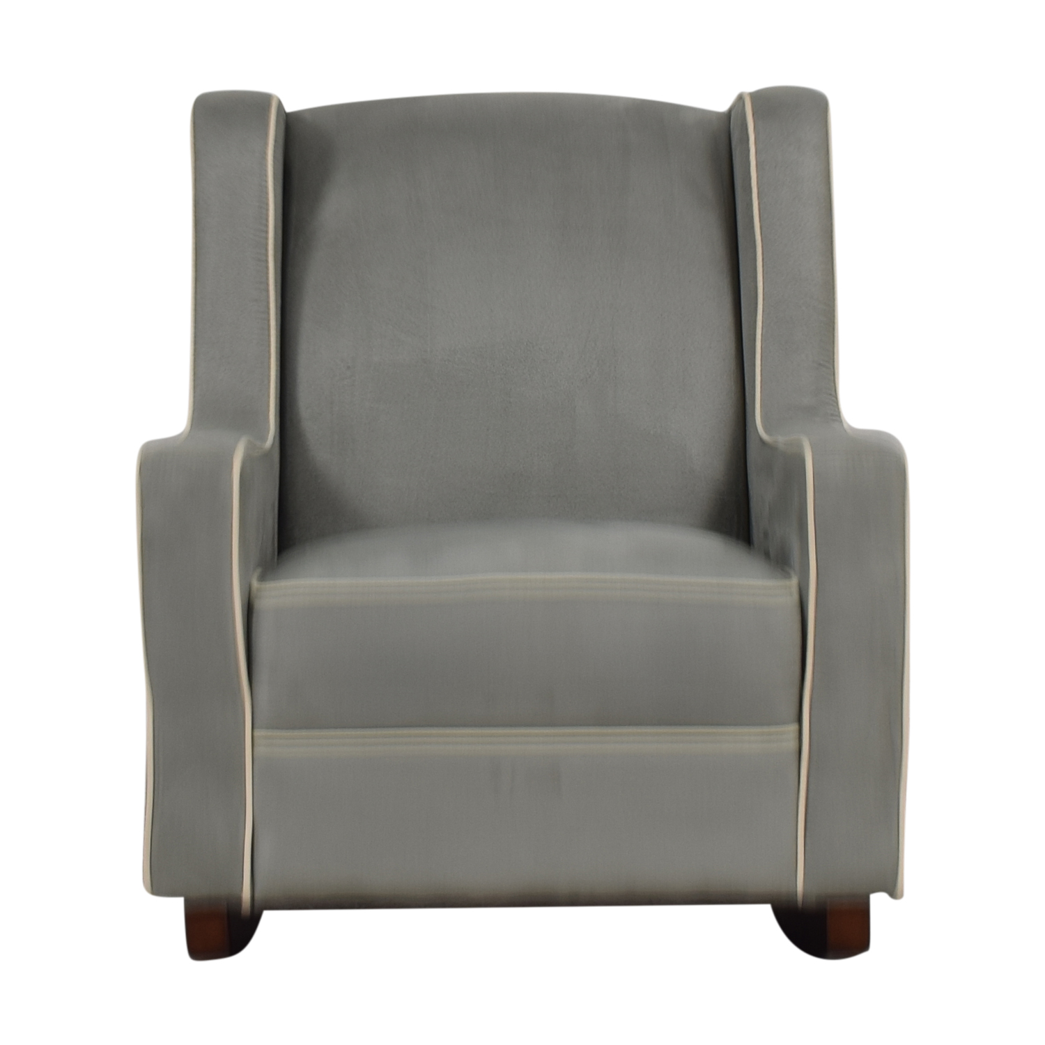 Viv + Rae Sanders Viv + Rae Sanders Grey with Beige Piping Compact Plush Rocking Chair Accent Chairs