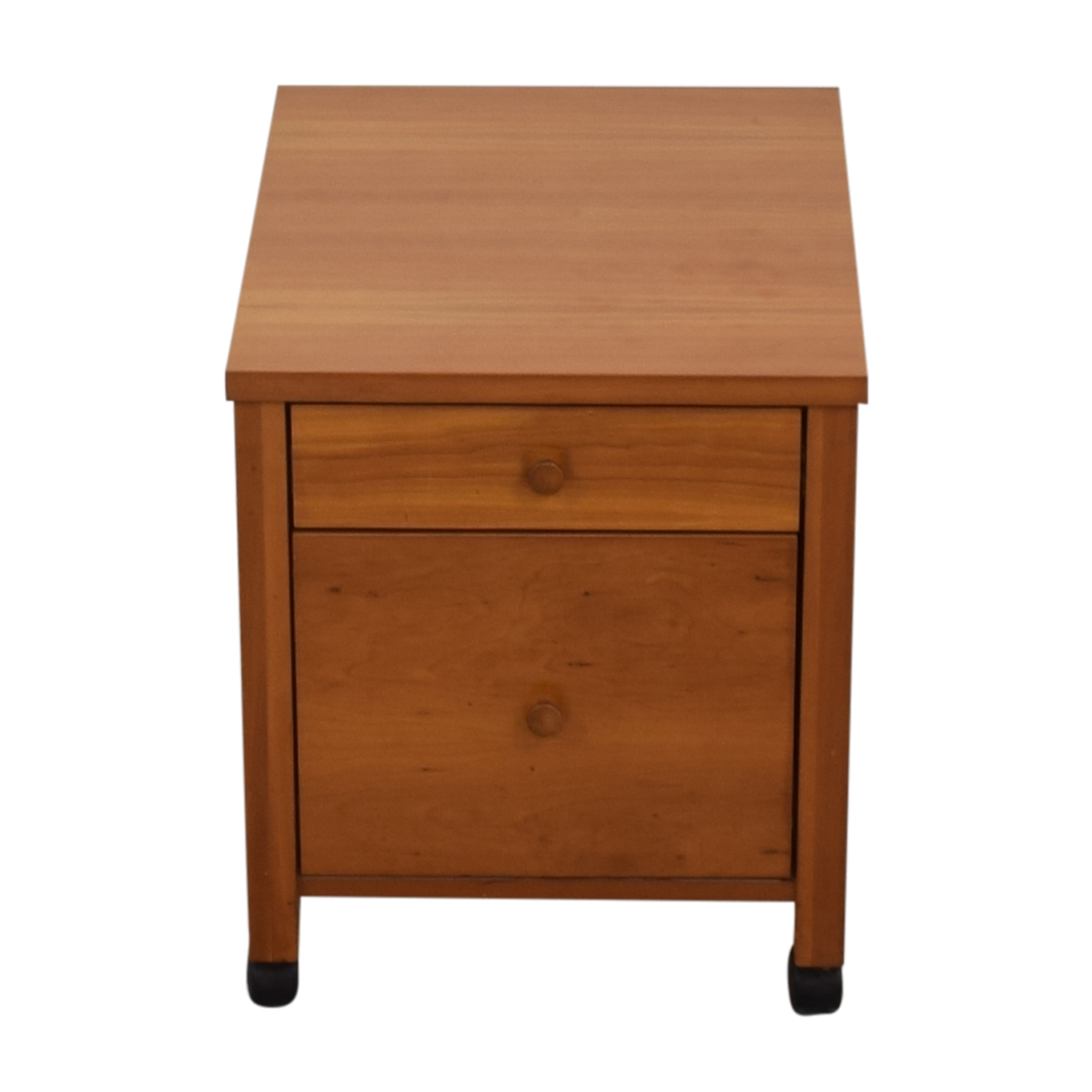 Two-Drawer Wood File Cabinet on Castors Storage