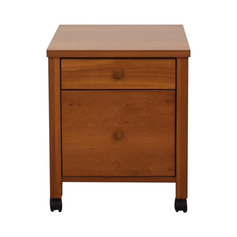 Two-Drawer Wood File Cabinet on Castors